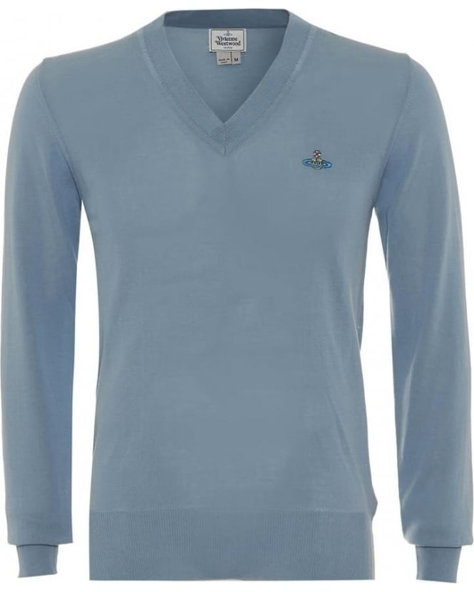 Vivienne Westwood Man Jumper V-Neck Slim Fit Sky Blue Knit