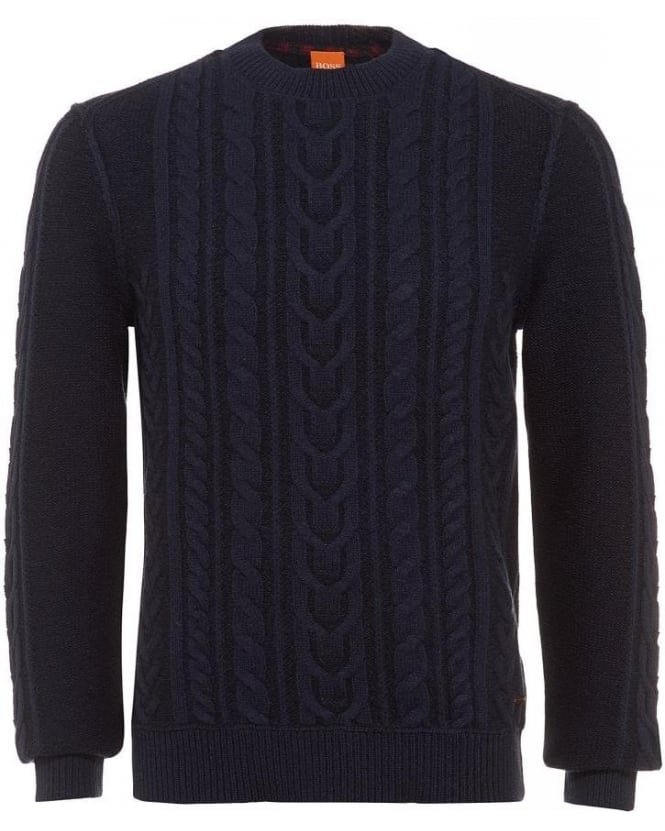 Hugo Boss Orange Kaas Dark Blue Cable Knit Sweater