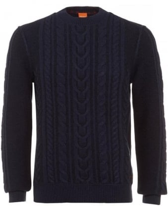 Kaas Dark Blue Cable Knit Sweater
