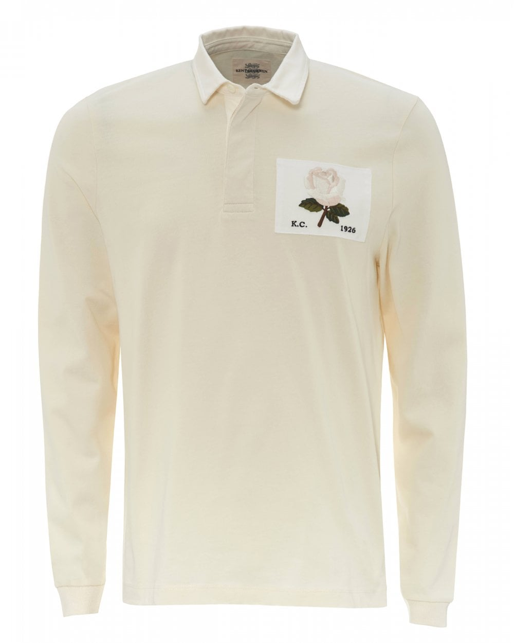 6bb56ac90 Kent & Curwen Mens Cream Rugby Rose Patch Polo Shirt