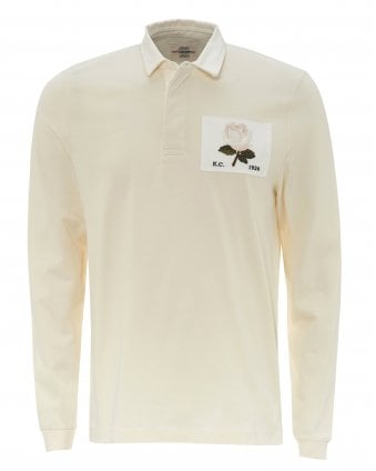 7108327b3f0 Mens Cream Rugby Rose Patch Polo Shirt