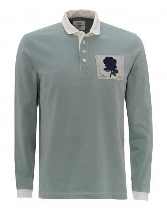 065d559c28b Mens Light Green Rugby Rose Patch Polo Shirt SALE. Kent & Curwen ...