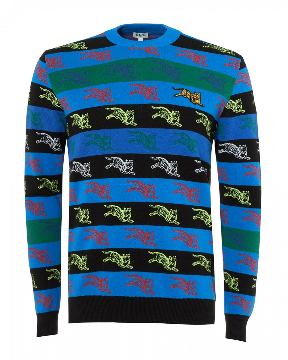 72503ce0 Kenzo Mens All Over Tiger Print Jumper, Blue Sweater