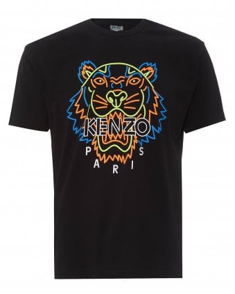 Mens Black Neon Tiger Logo T-Shirt 62db1fe58