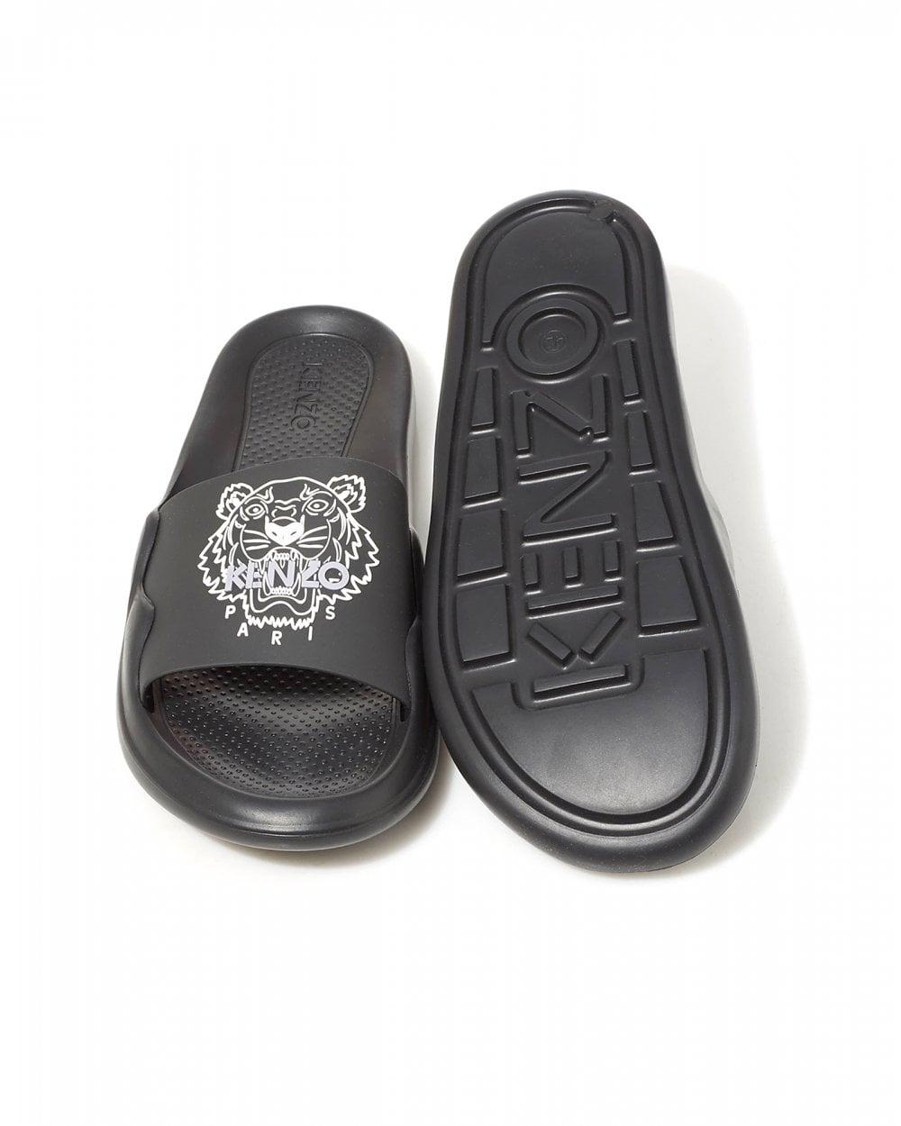 c30eecef Mens Black Slides, Printed Tiger Flip Flops
