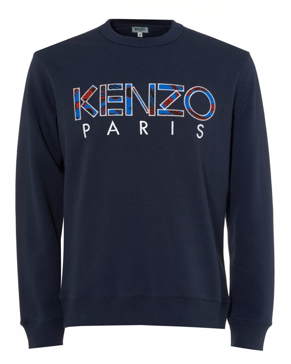 Kenzo Mens Camo Infill Logo Sweatshirt, Ink Blue Sweat 7ae9fb9aeb9