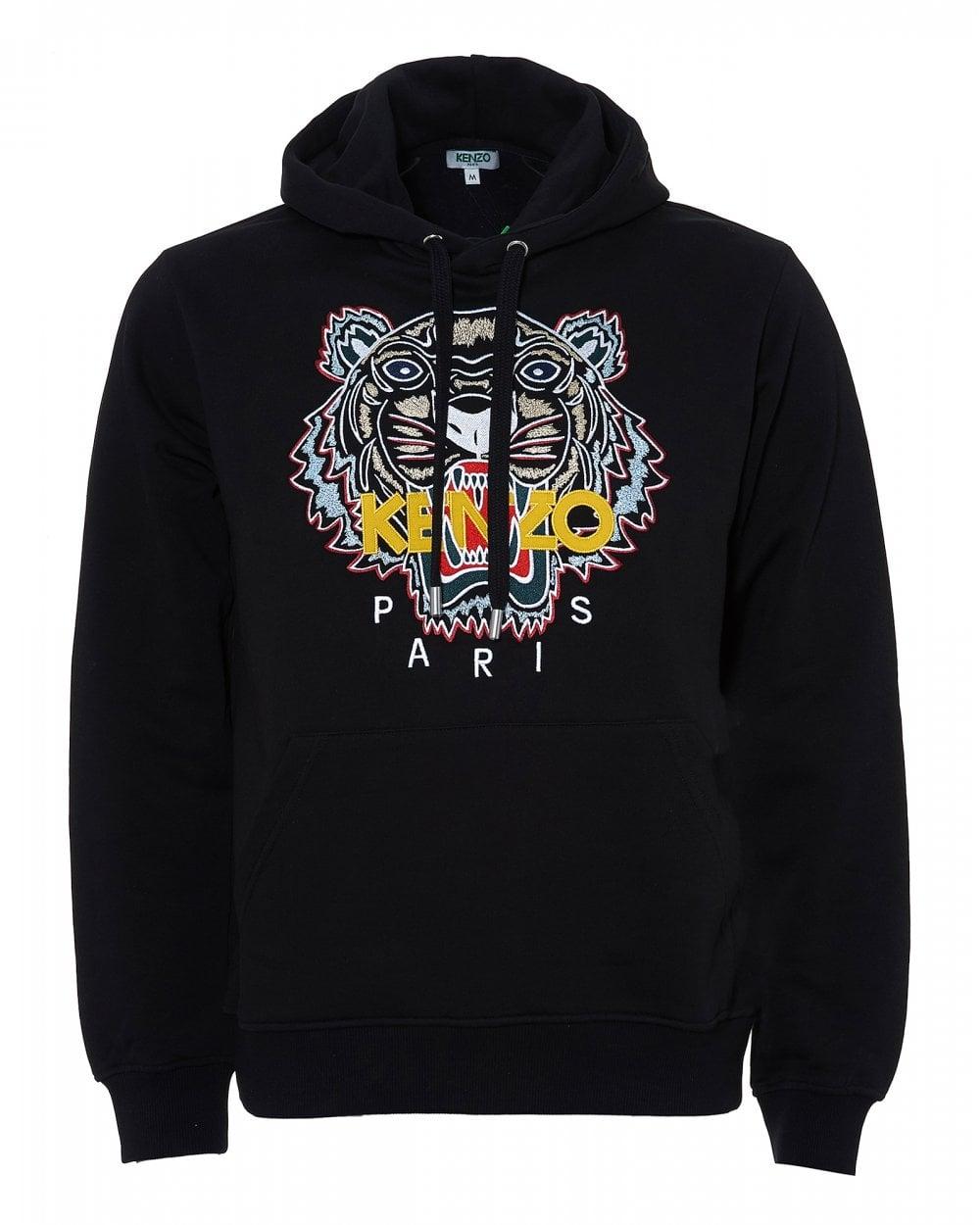 Kenzo Mens Chinese Tiger Hoodie, Black Logo Sweatshirt 28fcb49dc28