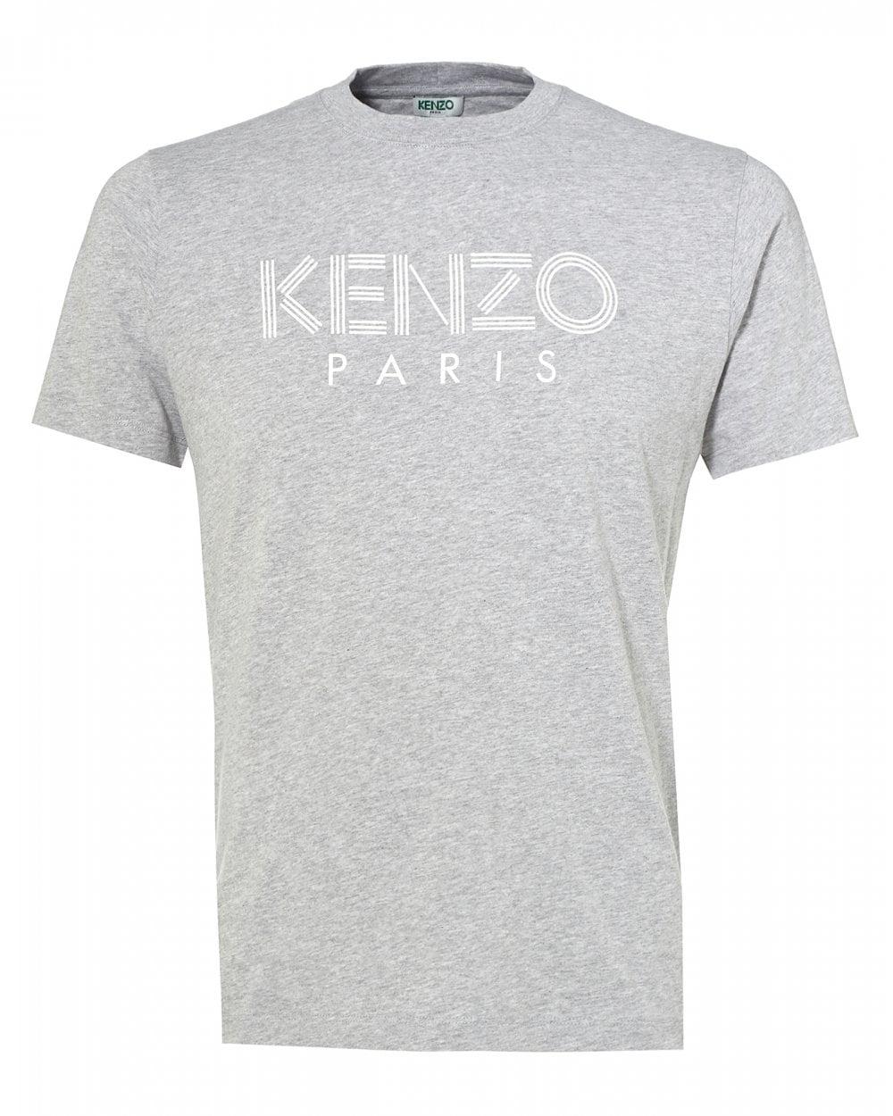 ba00fdc4 Kenzo Mens Classic Logo T-Shirt, Pearl Grey Tee