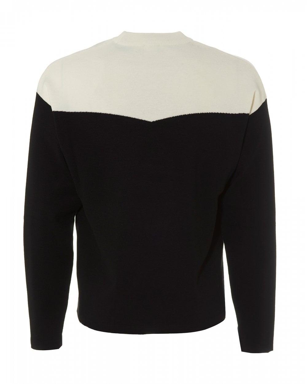 cfc1883a6 Kenzo Mens Dragon Colour Block Jumper, White Black Crew Neck Sweater