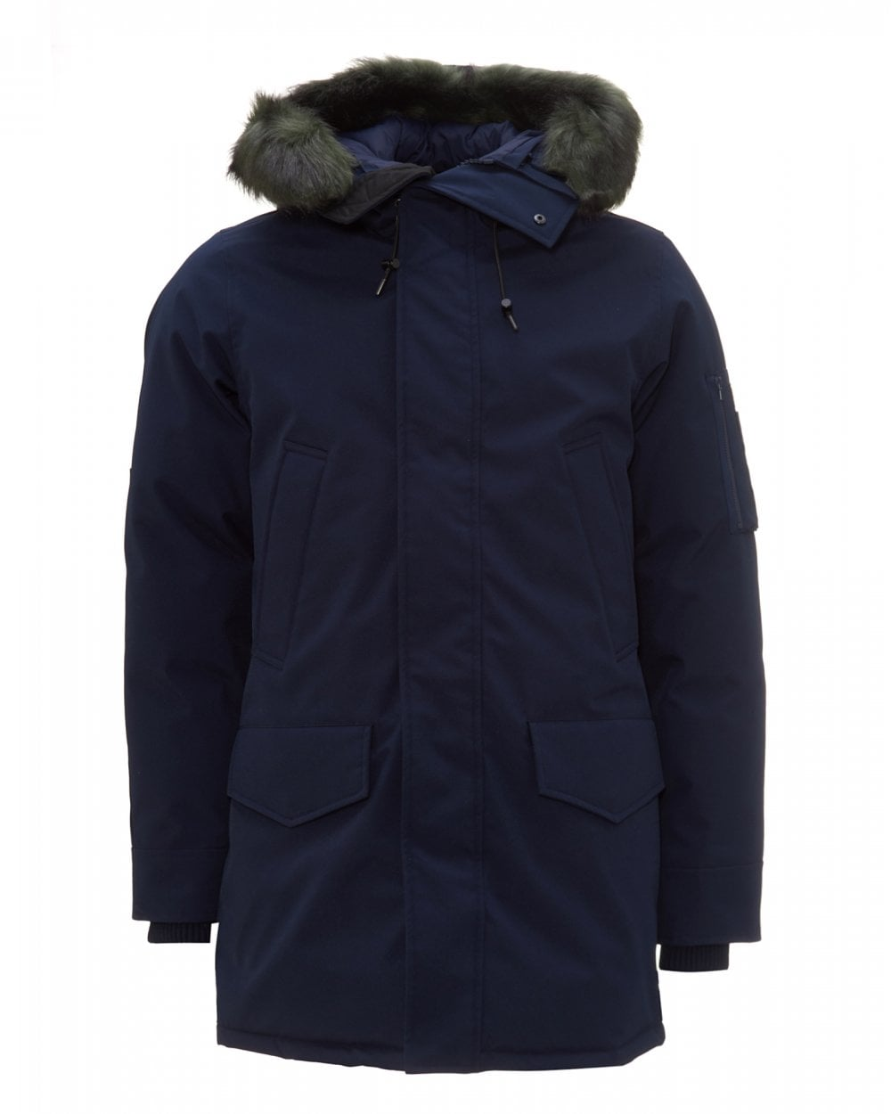 mens navy blue parka jacket