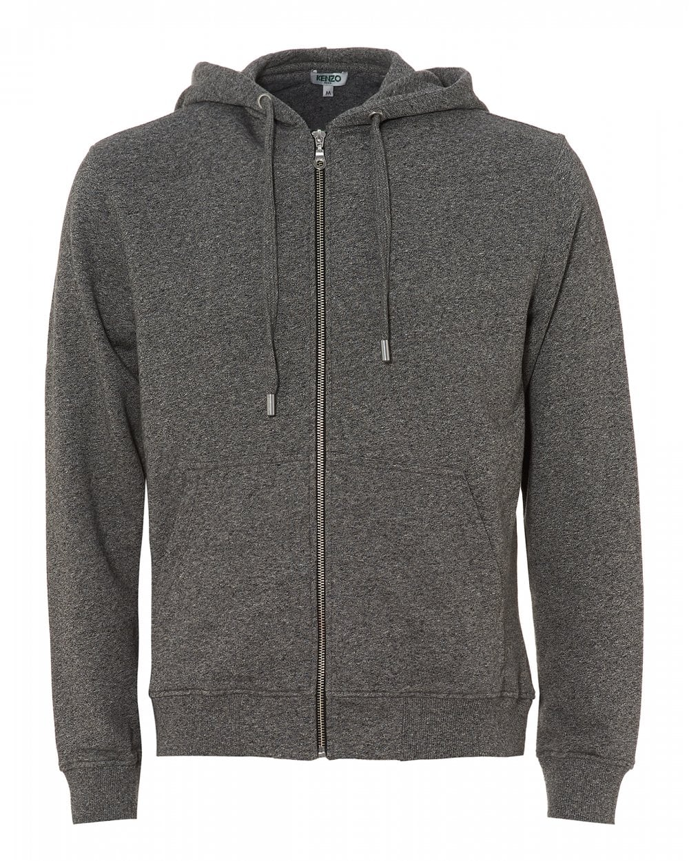 daa357287 Kenzo Mens Hooded Logo Zip Hoodie, Anthracite Grey Hooded Sweat