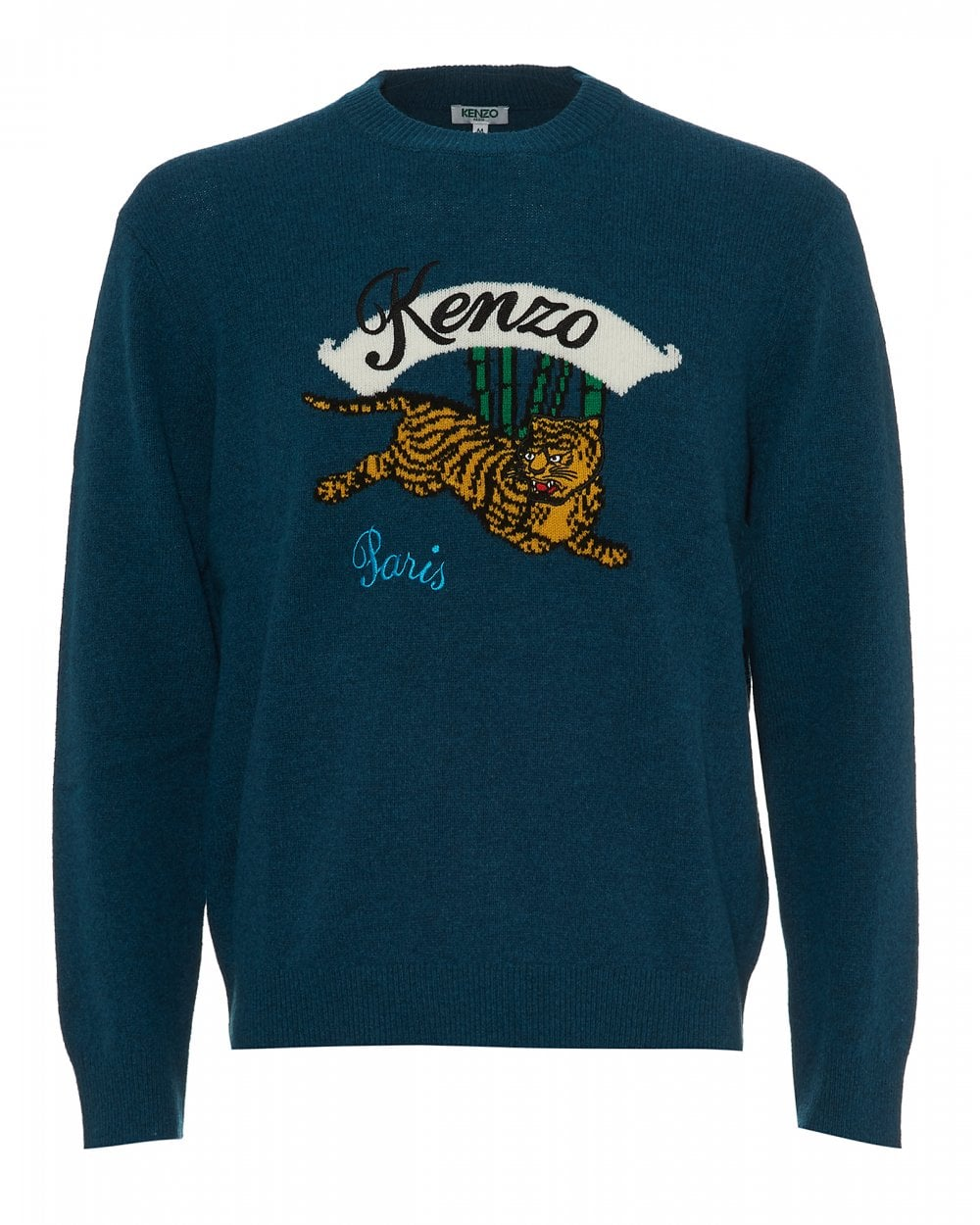6db1dd284 Kenzo Mens Jumping Tiger Jumper, Petrol Blue Crew Neck Sweat
