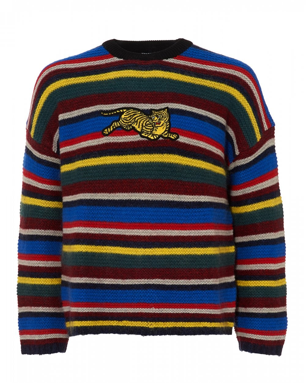 Kenzo Mens Jumping Tiger Striped Jumper Multi Coloured Sweater