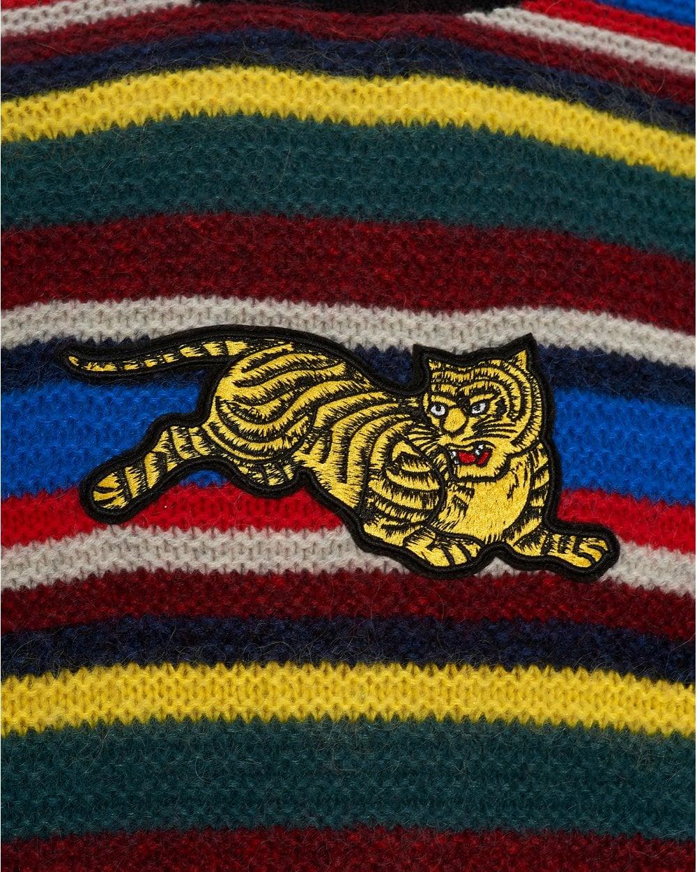 233f8285 Kenzo Mens Jumping Tiger Striped Jumper, Multi Coloured Sweater