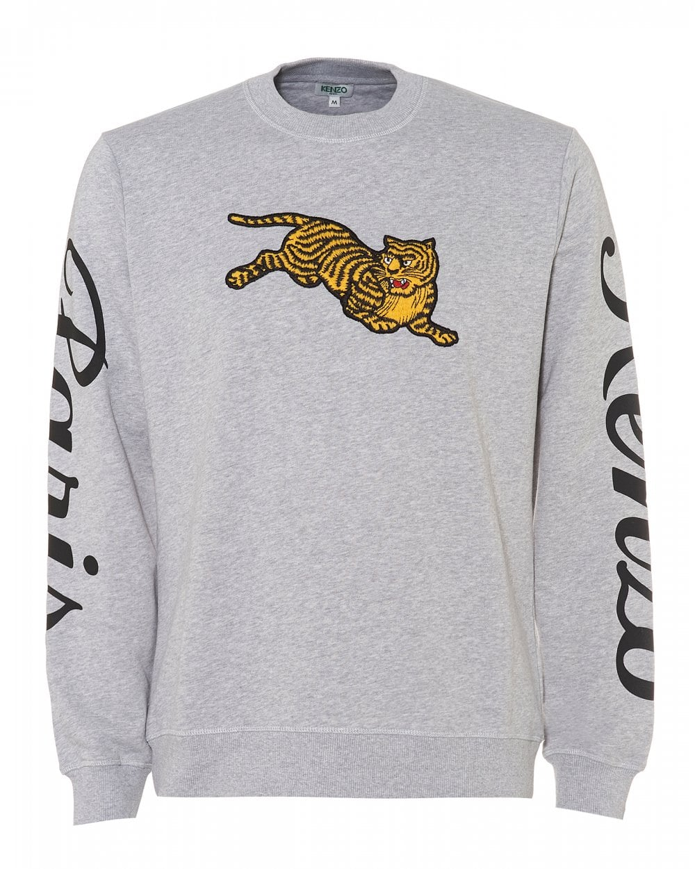 Kenzo Mens Jumping Tiger Sweatshirt, Pearl Grey Crew Neck Sweat d7211a0c857