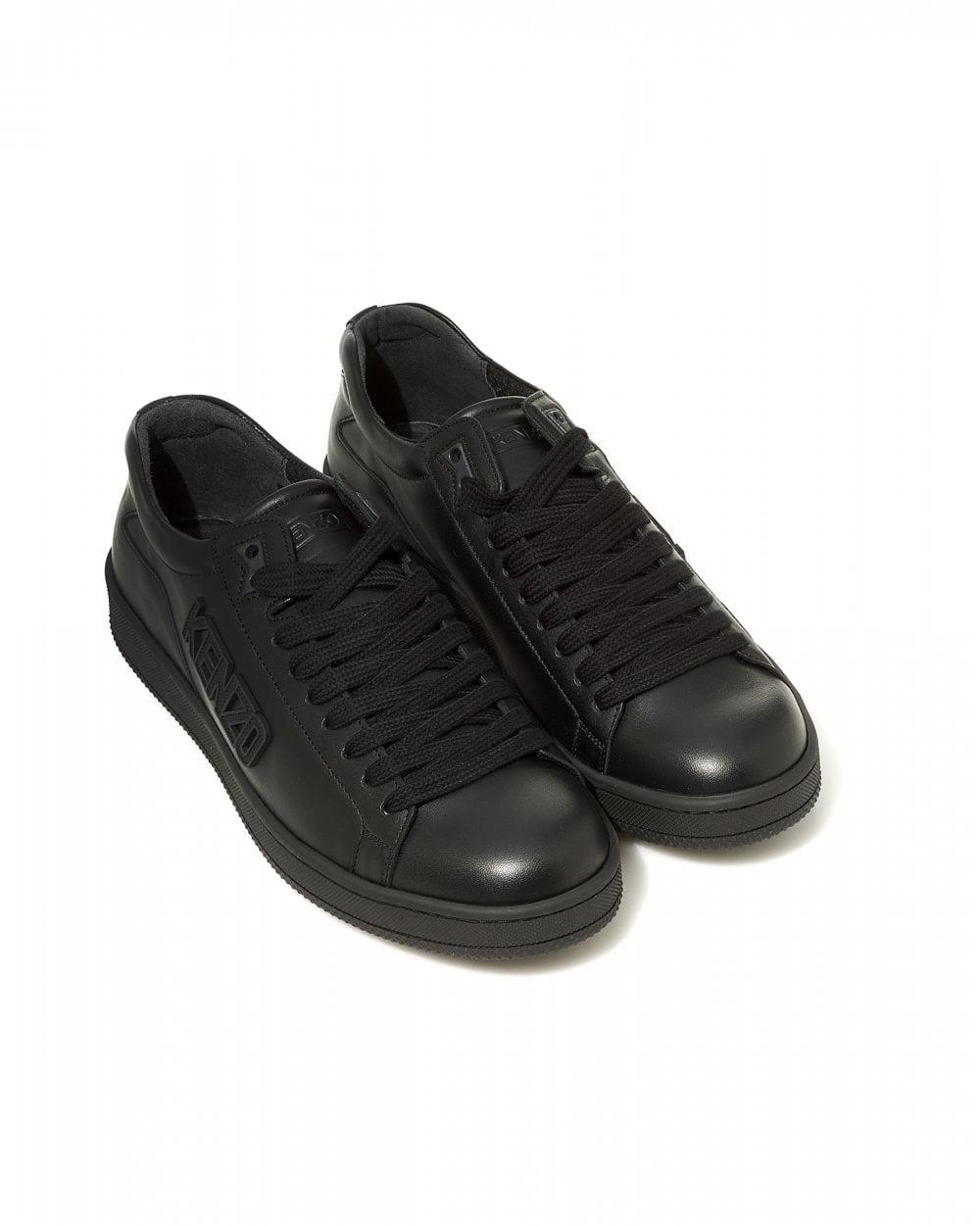 Top Tennix Trainers, Black Logo Sneakers