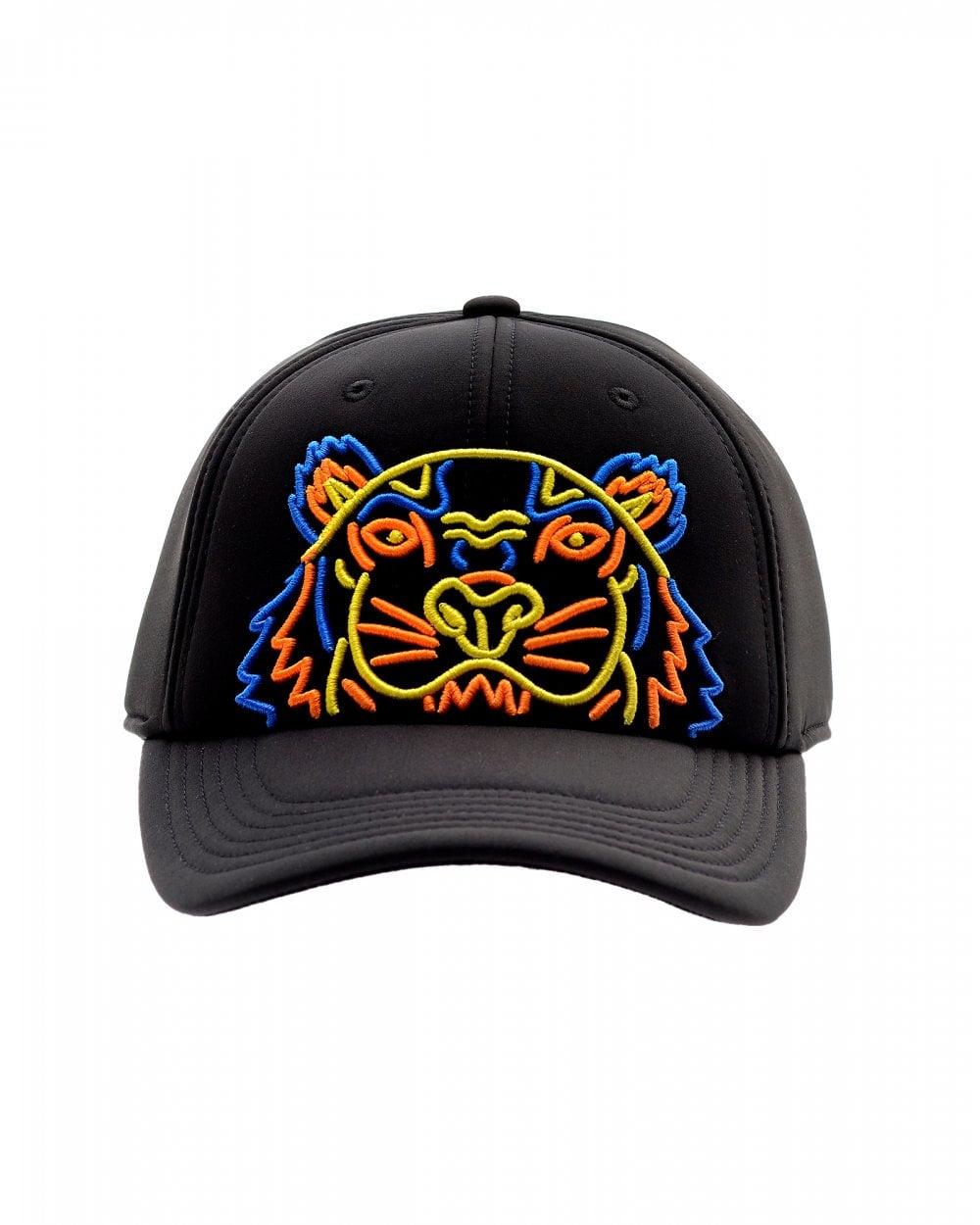 e6f054647 Mens Neoprene Neon Tiger Baseball Cap, Black Neon Hat