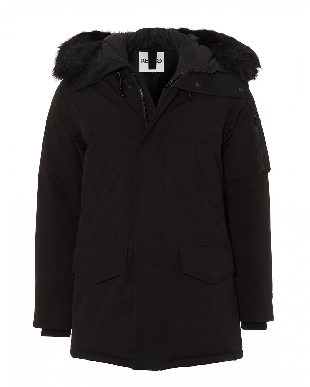 949962bee Mens Padded Hooded Parka, Black Down Filled Jacket