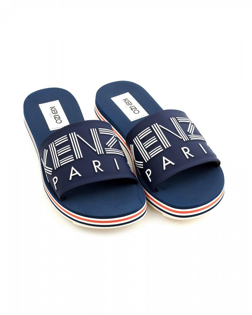 42fda0223 Kenzo Mens Papaya Sliders, Midnight Blue Slip On Sandals