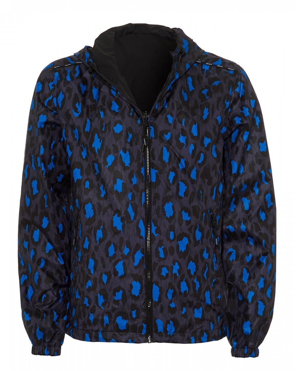 0efc3ef3 Mens Reversible Windbreaker Jacket, Black Blue Coat