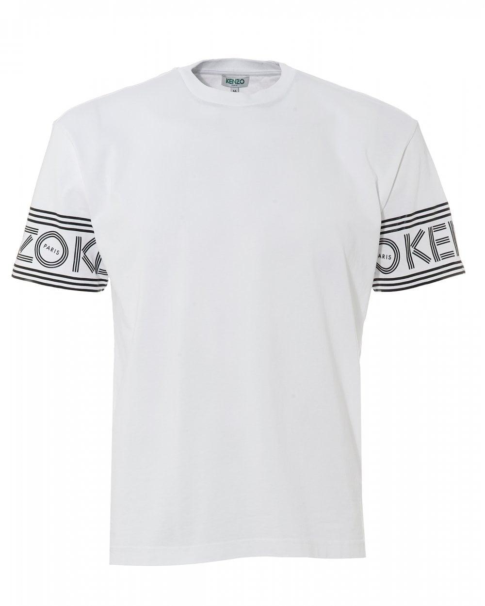 e9f14ce4ec73 Kenzo Mens Sport Lettered Logo T-Shirt, White Regular Fit Tee