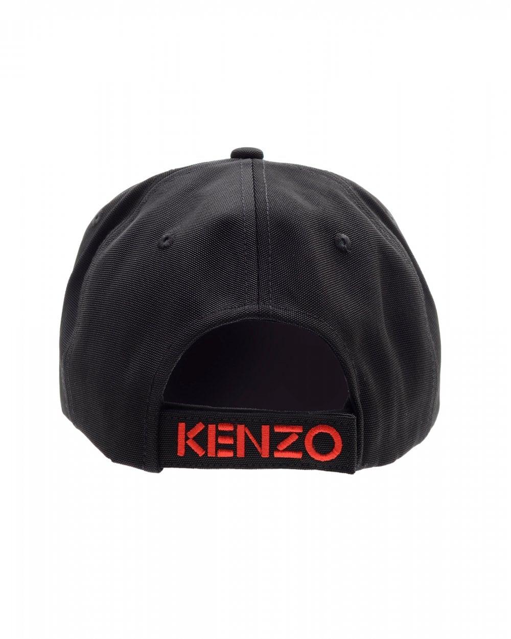 8b48c815a3 Kenzo Mens Tiger Canvas Baseball Cap, Black Hat