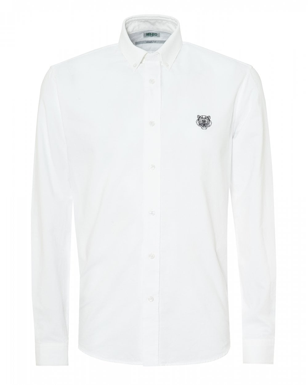 791aaf98 Kenzo Mens Tiger Crest Button Down Slim Fit White Shirt