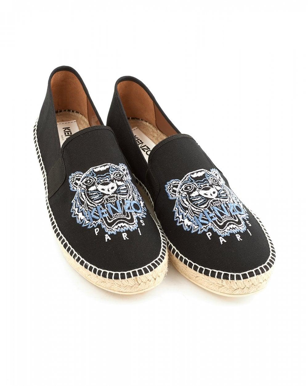 c97dfe616 Kenzo Mens Tiger Espadrilles, Black Canvas Shoes