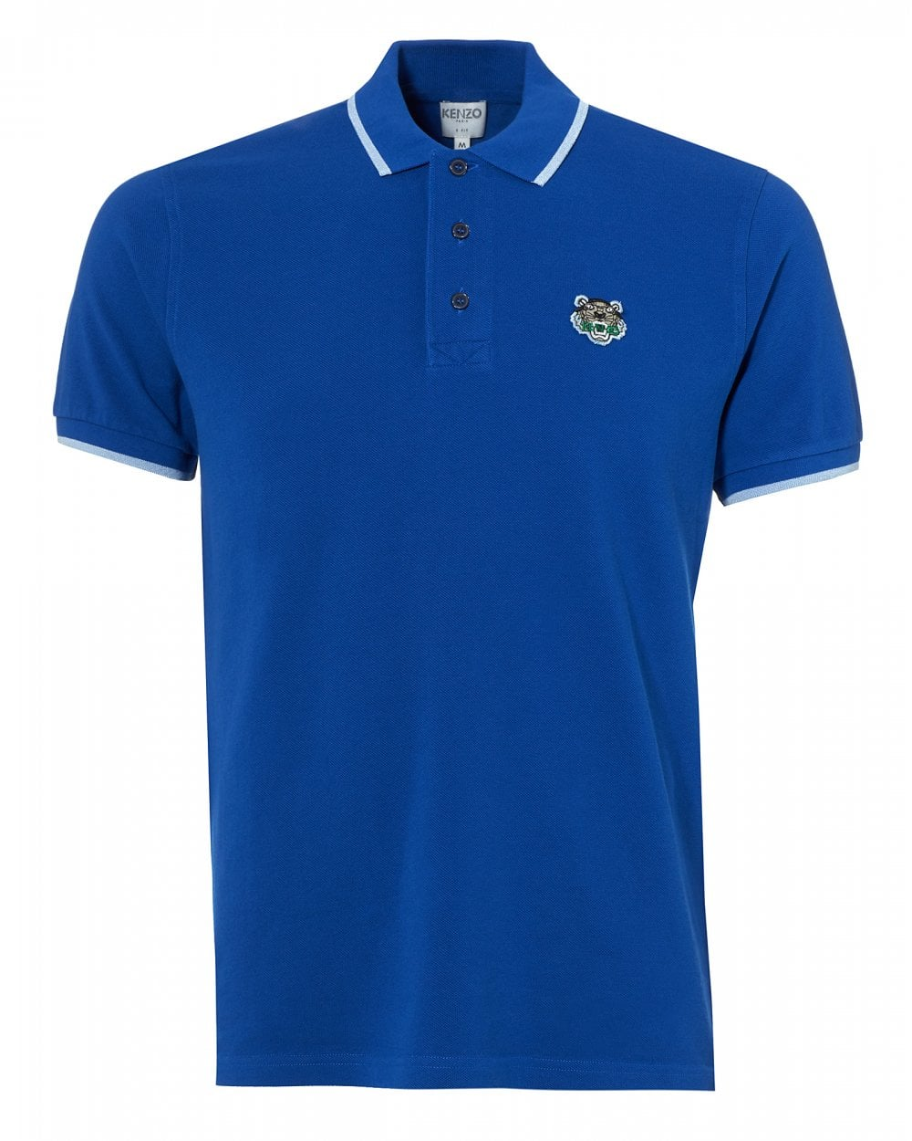 dbe91185 Kenzo Mens Tiger Polo Shirt, Tipped Regular Fit French Blue Polo