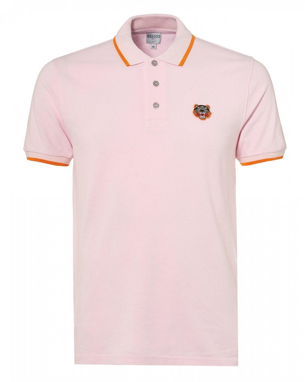 67efbdebd1 Kenzo Mens Tiger Polo Shirt, Tipped Regular Fit Pink Polo