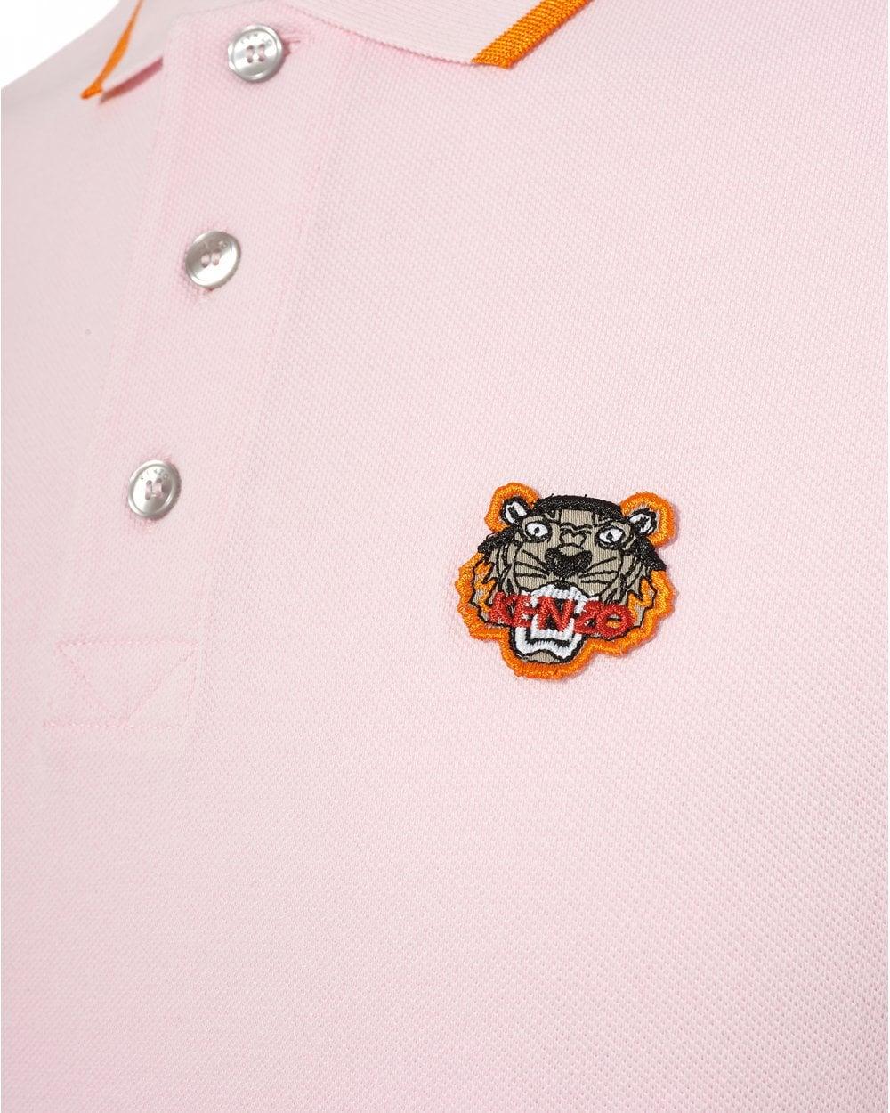 8f647b7b7 Kenzo Mens Tiger Polo Shirt, Tipped Regular Fit Pink Polo