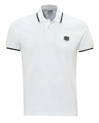 Mens Tiger Polo Shirt, Tipped Regular Fit White Polo