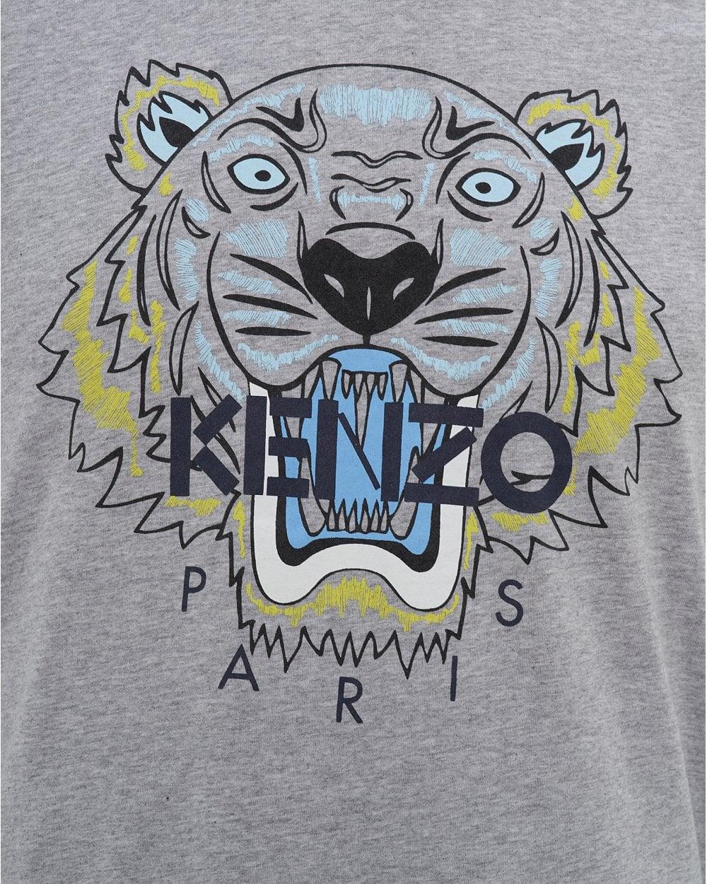 2c632d64 Kenzo Mens Tiger T-Shirt, Icon Pearl Grey Tee