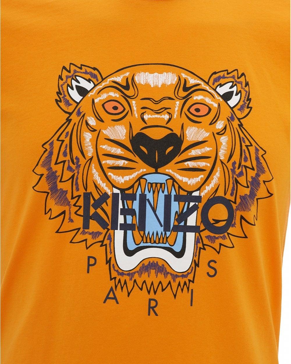 6201c12a0 Kenzo Mens Tiger T-Shirt, Orange Icon Tee