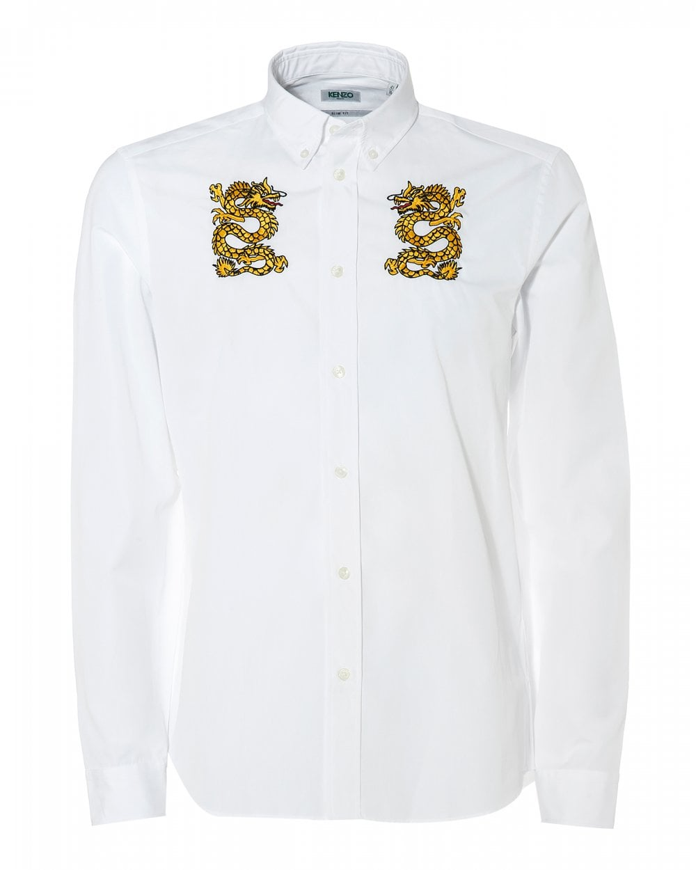 bf5a3aed Kenzo Mens Two Dragons Button Down White Printed Shirt
