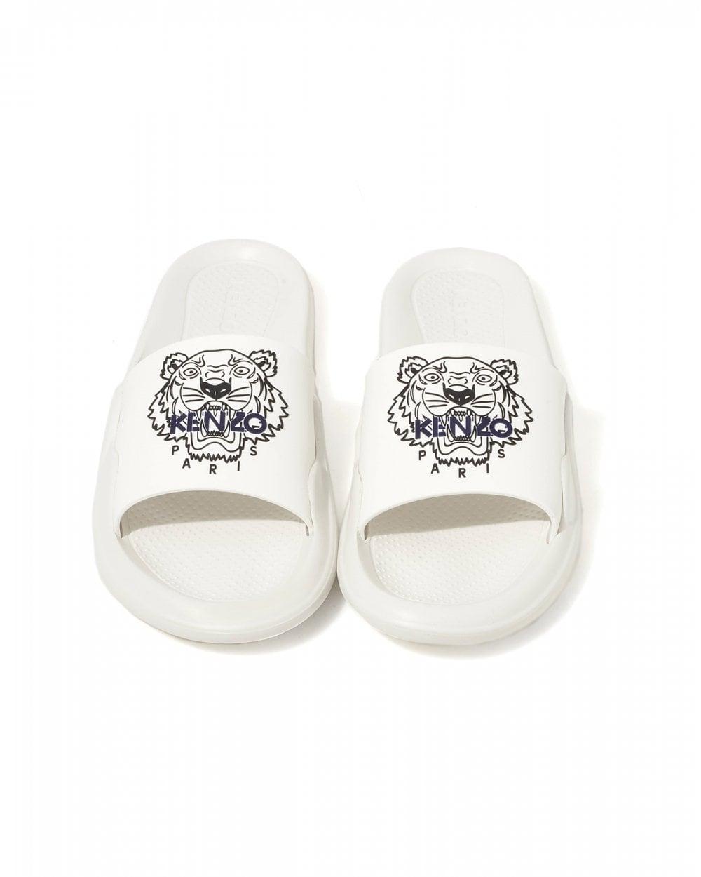 352758100 Mens White Flip Flops, Printed Tiger Slides. BLACK Georgia derby shoes for  unisex KENZO .