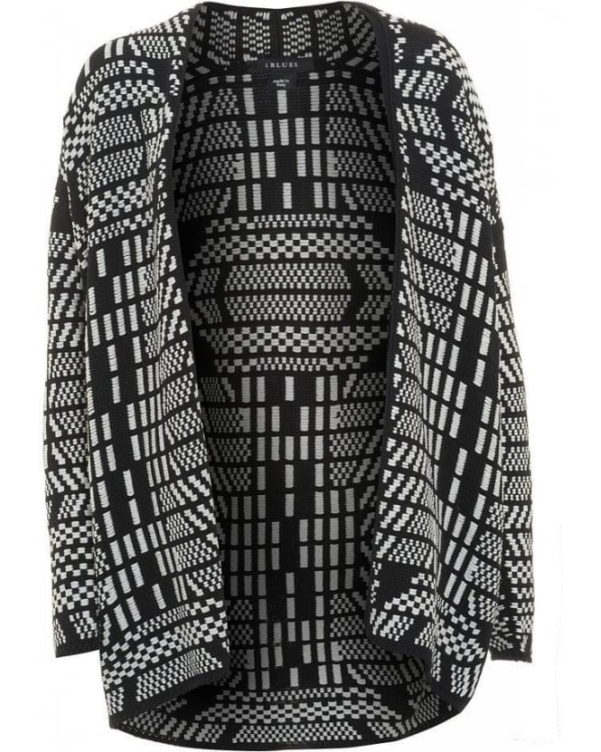 I Blues Knitwear Black and White 'Volga' Wrap Cardigan