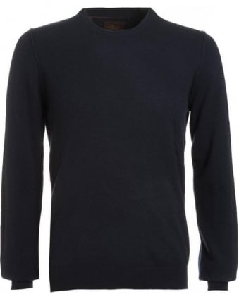 Knitwear, Navy Semi Fitted Cashmere Sweater