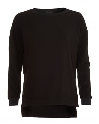 Womens Bristol Pullover, Open Arm Slits Black Top