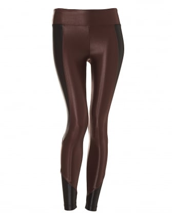 Womens Curve Crop Legging, Two Tone Bordeaux Black Leggings