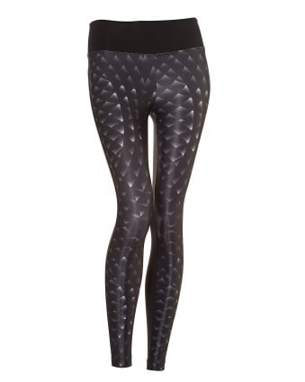 Womens Emulate Leggings, Cyber Snake Print Black Leggings