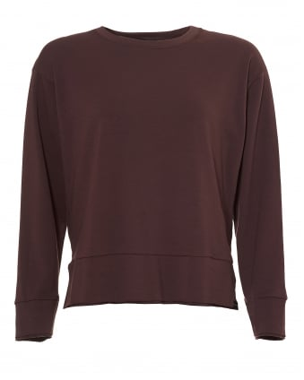 Womens Global Sweatshirt, Side Slit Bordeaux Top