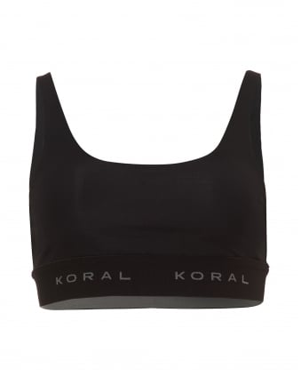 Womens Inner Sports Bra, V-Back Black Bra
