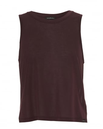 Womens Muscle Tank, Mid Crop Bordeaux Top