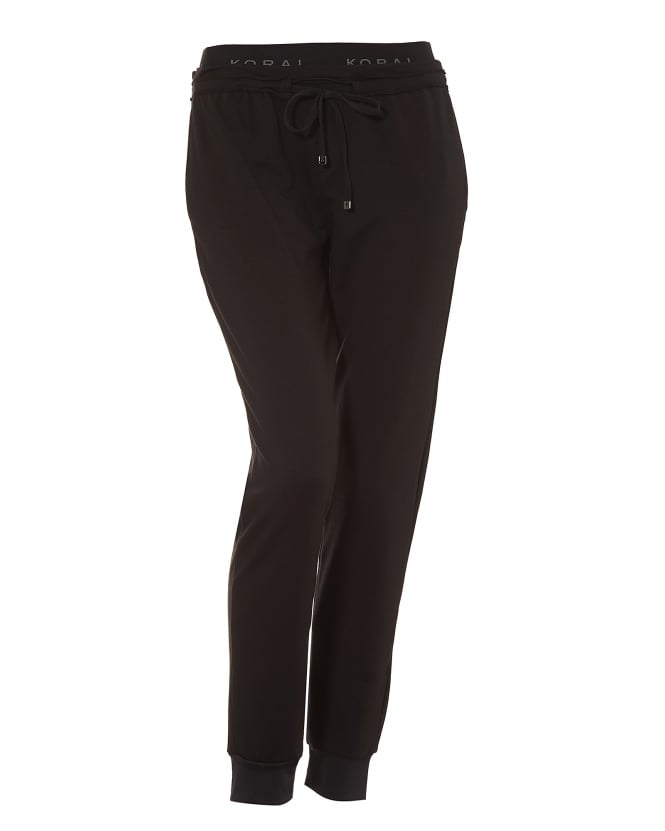 Koral Womens Station Sweatpants, Cuffed Ankles Black Joggers