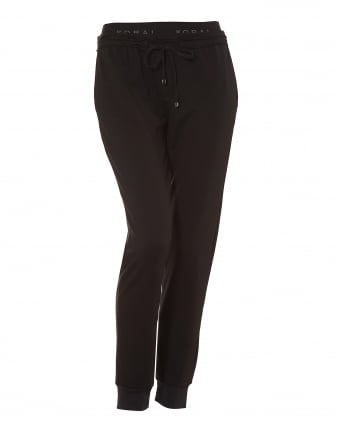 Womens Station Sweatpants, Cuffed Ankles Black Joggers