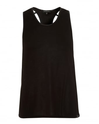 Womens Webbed Tank, Racer Back Black Top