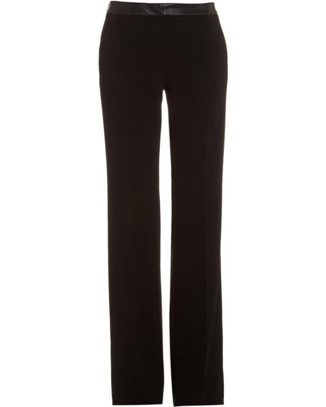I Blues 'Lancia' Mid Rise Leather Effect Black Trousers