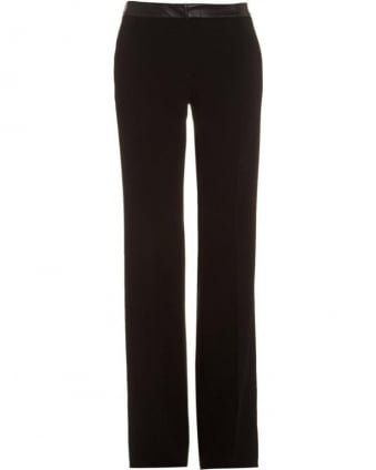 'Lancia' Mid Rise Leather Effect Black Trousers