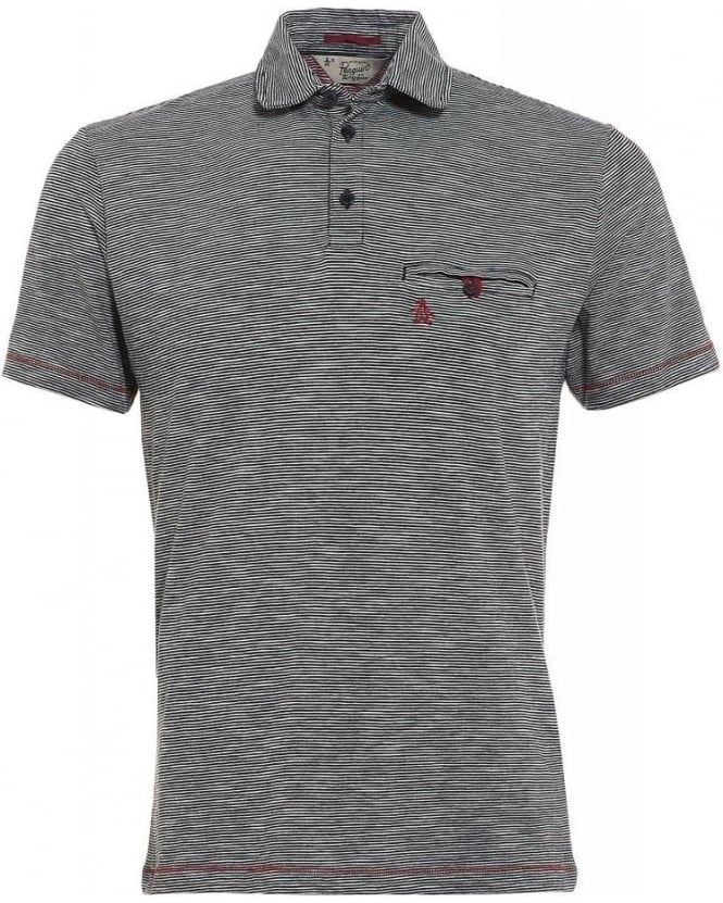 Original Penguin Landy Polo Shirt, Navy Stripe Red Stitch Polo